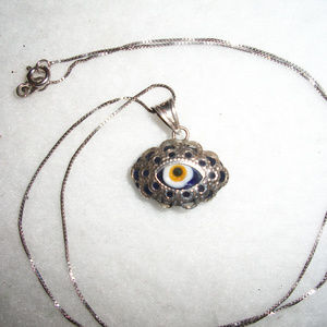 .925 STERLING Silver EVIL EYE Protection Necklace